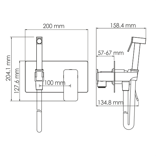 Aller 10638 Wall mount bidet spray mixer