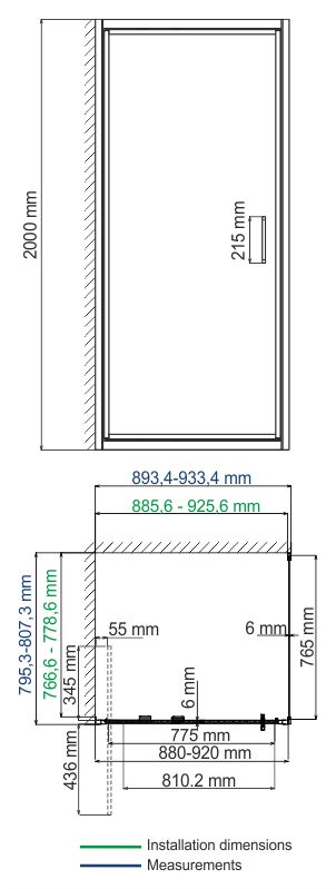 Salm 27I20 Infold shower enclosure, rectangular