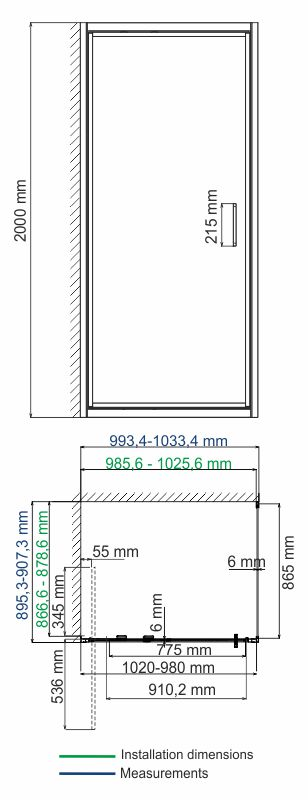 Salm 27I22 Infold shower enclosure, rectangular