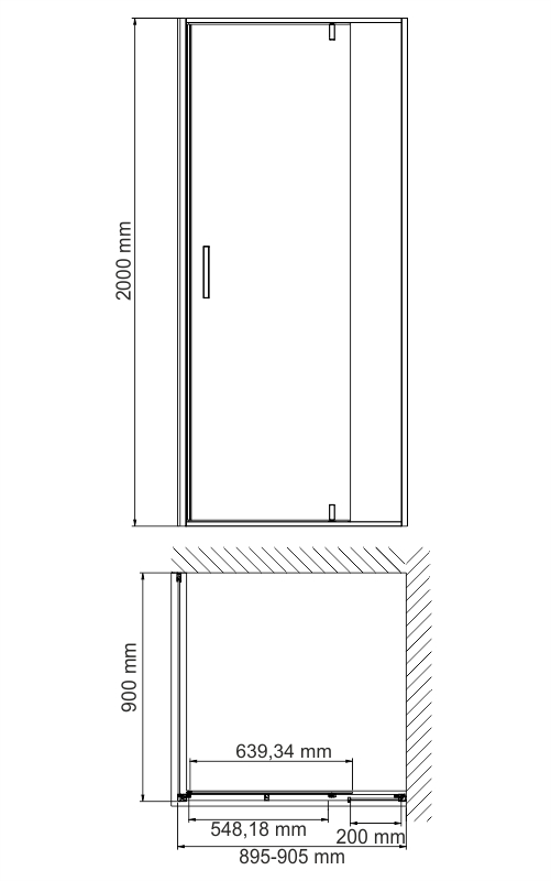 Elbe 74P03 Shower enclosure, square, with pivoted door, universal