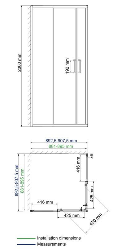 Main 41S03 Matt glass Shower enclosure, square with sliding doors