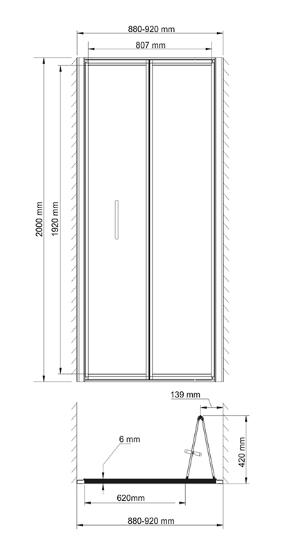 Weser 78F04 Shower door, bifold door, universal