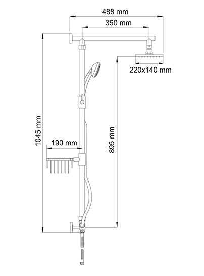 A016 Shower system, 102 x 52 cm